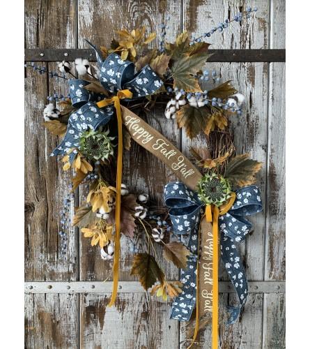 Blueberry Spray Fall Wreath