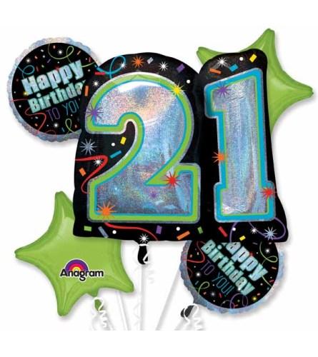 21st Brilliant Birthday Super Fun Foil Balloon Bouquet