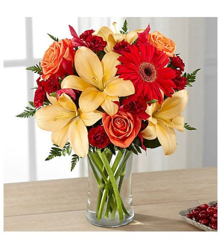 Autumn Sunset Bouquet Vase arrangement