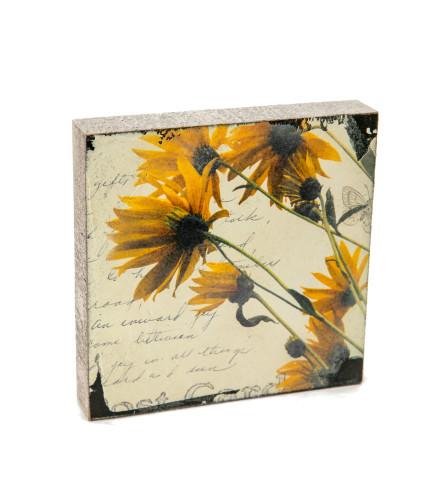 Yellow Daisy Block Art I