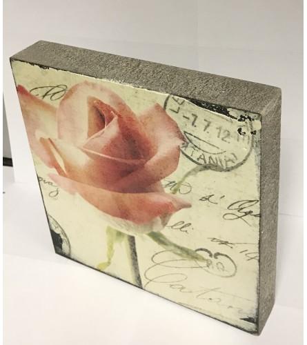 Pink Rose Block Art I