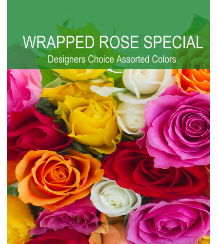 Wrapped Assorted Rose Special (designers color choice only)