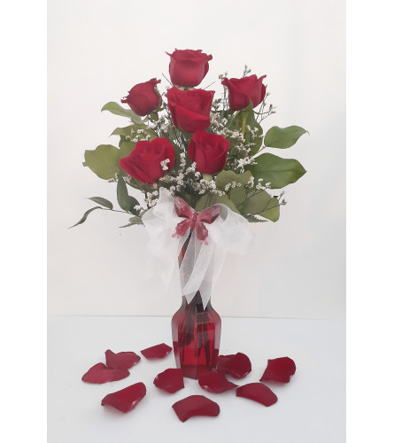 Deluxe Rose Red Vase