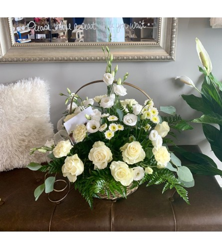 Beautiful Sympathy Basket in White and Cream