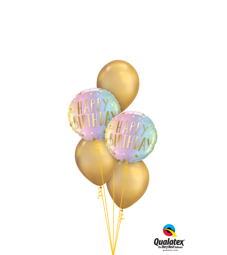Shiny Neon & Gold Birthday Classic Balloon Bouquet