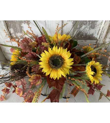 Sunflowers with Fall Leaves Cemetery Saddle