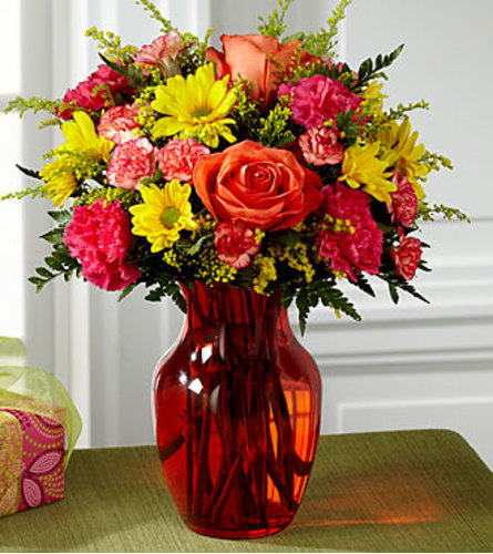 The FTD Colours Abound Bouquet Vase Arrangement