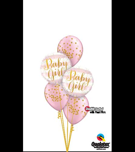 Pearl Pink Baby Confetti Dots Classic Confetti Balloon Bouquet