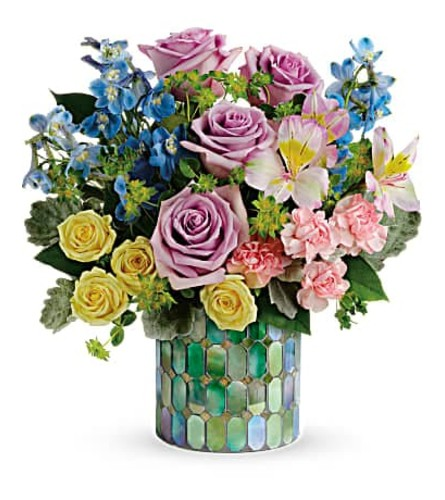 MOSAIC VASE OF BLOOMS