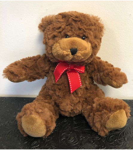 Small Brown Teddy Bear, Red Bow