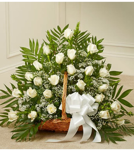 FIRESIDE BASKET WHITE ROSES