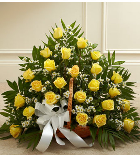 FIRESIDE BASKET YELLOW ROSES