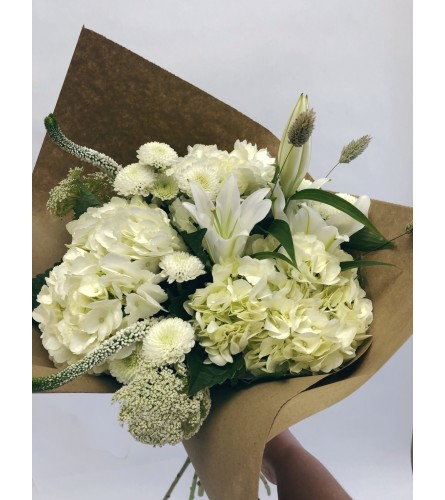 Seasonal White Hand-tied Bouquet