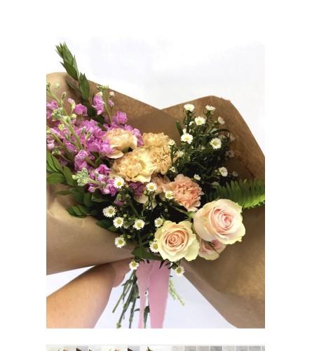 Seasonal Pink Hand-tied Bouquet
