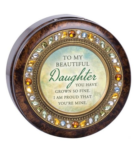 Daughter Round Amber Jeweled Music Box