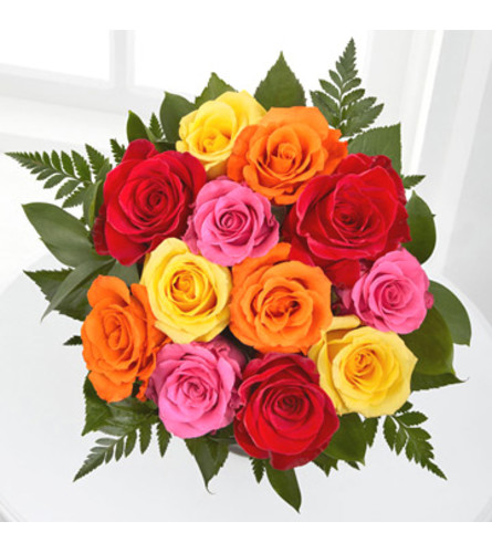 Wrapped Dozen Assorted Roses