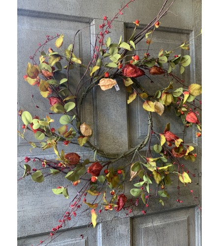 Fall Spray Wreath with Greens and Reds
