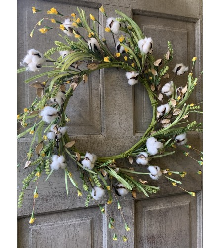 Cotton Wreath adorned with Greenery