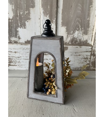 Large Cement Lantern with Greens and Candle