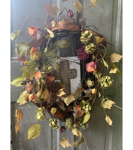 Fall Wreath with Cross Sign