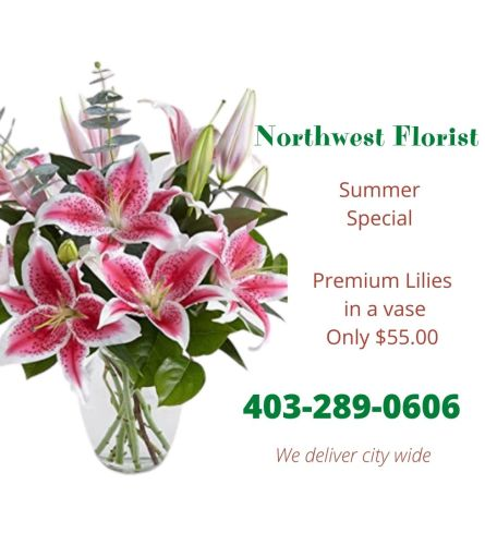 SUMMER SPECIAL - Pink Lilies in a vase