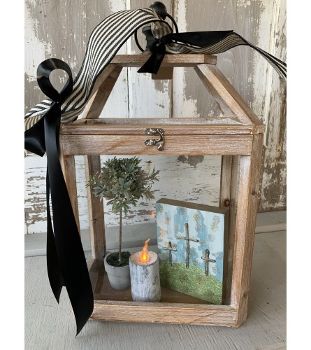 Small Wood Lantern with Topiary
