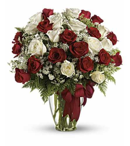 White and Red Roses Arranged