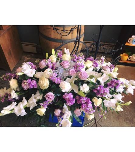 Exquisite Lavender Casket spray