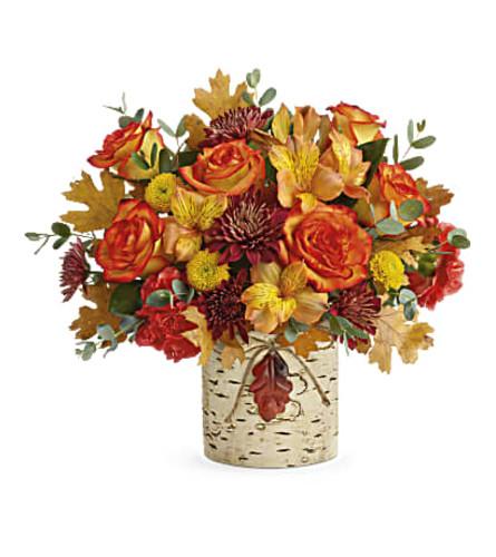 Autumn Colors Bouquet with Leaf Accent