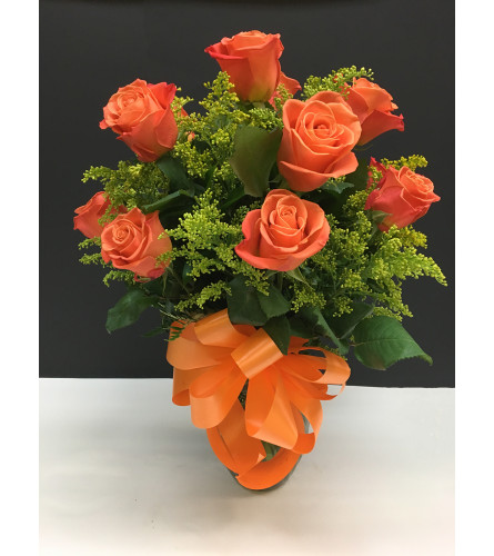 CORAL ROSE ARRANGEMENT WITH BOW