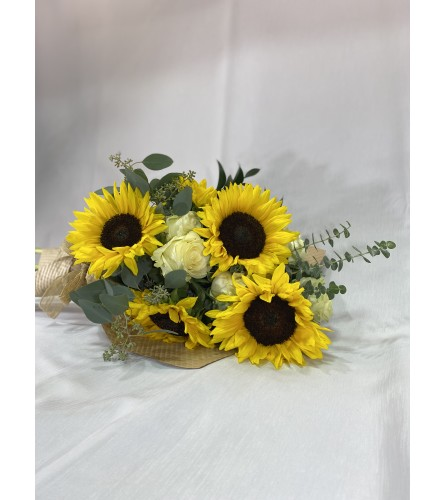 Sunflower Happiness wrapped flowers
