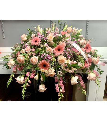 Casket of Soft Pink Blooms