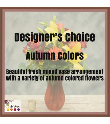 Autumn Arrangement in Colored Vase (Medium)