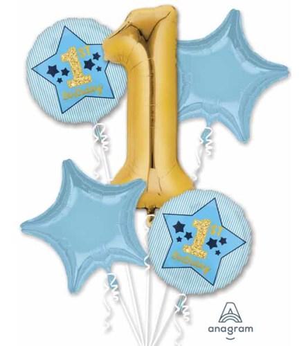 Boy 1st Birthday Super Fun Foil Balloon Bouquet