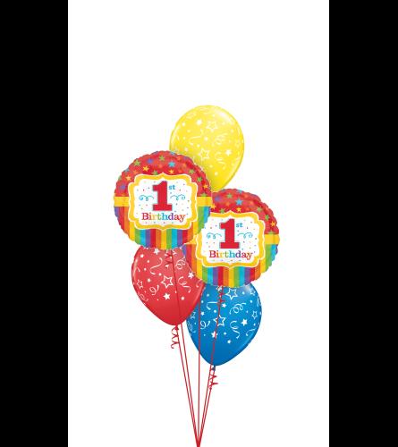 Rainbow 1st Birthday Classic Balloon Bouquet
