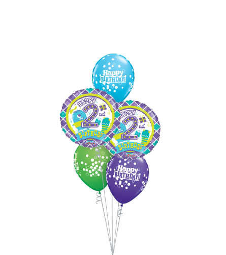 2nd Birthday Boy Classic Balloon Bouquet