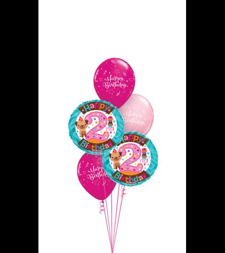2nd Birthday Girl Classic Balloon Bouquet