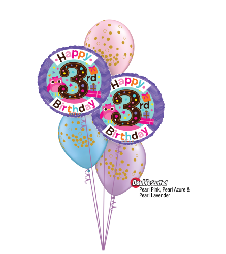 3rd Birthday Girl Classic Confetti Balloon Bouquet