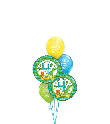 4th Birthday Boy Classic Balloon Bouquet