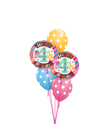 4th Birthday Girl Classic Balloon Bouquet