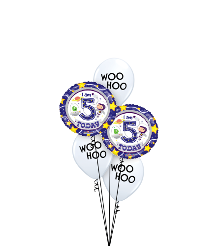 5th Birthday Boy Classic Balloon Bouquet