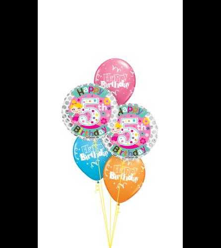 5th Birthday Girl Classic Balloon Bouquet