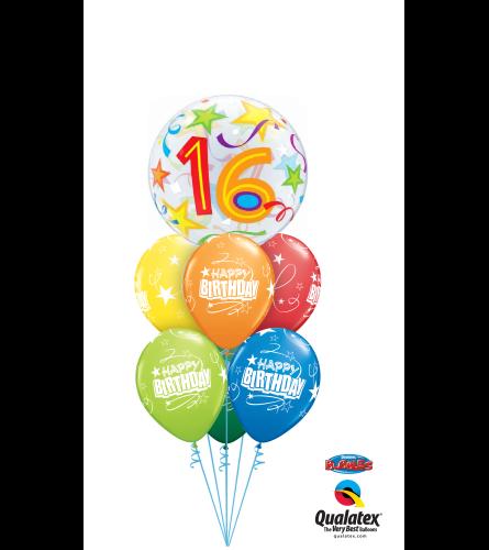 16th Birthday Bubble Balloon Bouquet