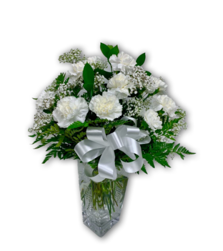 Scarlet Summer White Carnations in Premium Polish Vase