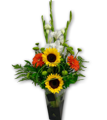 Wide-Eyed Whimsical Floral Arrangement in Premium Polish Vase
