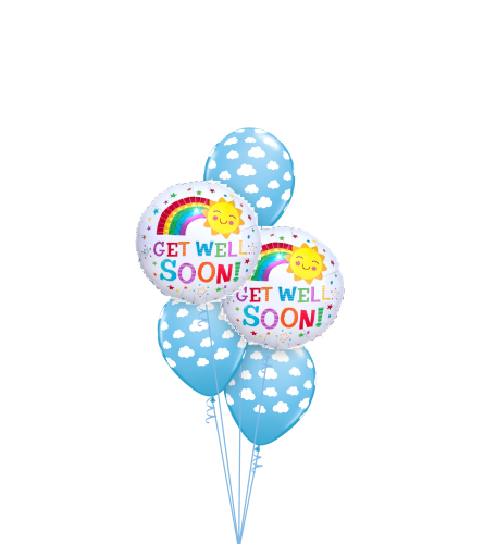 Get Well Happy Clouds and Sun Classic Balloon Bouquet