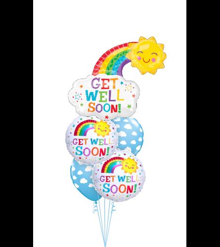 Get Well Happy Rainbow Cheerful Balloon Bouquet