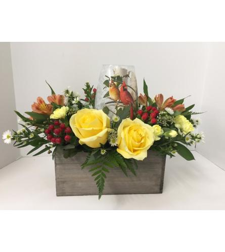 Floral Lamp Arrangement with Cardinals