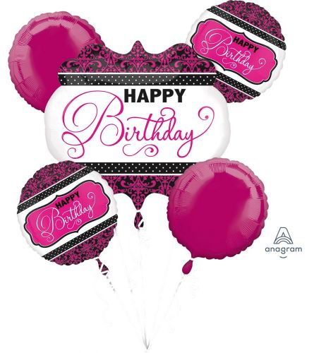 Pink, Black, White Balloon Bouquet