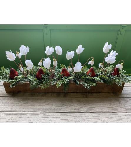 Red Pear / White Flower Centerpiece